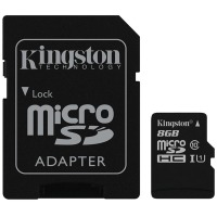 Карта памяти Kingston microSDHC 8GB UHS-I U1 (SDC10G2/8GB) + SD адаптер