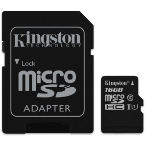 Карта памяти Kingston microSDHC 16GB UHS-I U1 (SDC10G2/16GB) + SD адаптер