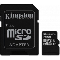 Карта памяти Kingston microSDHC 16GB UHS-I U1 Canvas Select (SDCS/16GB) + SD адаптер