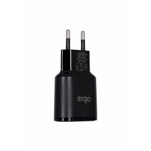Сетевая зарядка ERGO EWC-224 2xUSB Wall Charger Black